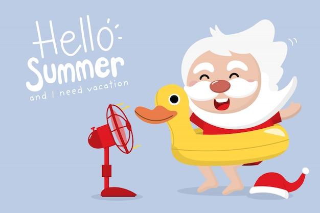 Santa claus, anillo de goma de pato amarillo y ventilador eléctrico en verano