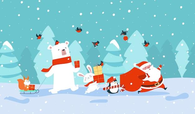 Santa claus con animales del bosque llevando regalos.