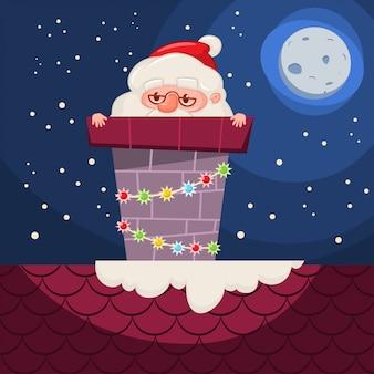 Santa claus atascado en la chimenea con guirnaldas en el techo. vector de dibujos animados personaje divertido de navidad aislado