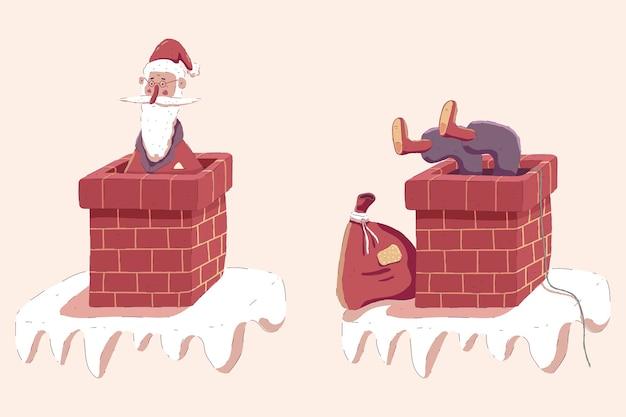 Santa claus atrapado en la chimenea en la ilustración de navidad de dibujos animados de techo aislado sobre fondo.