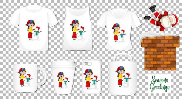 Santa claus bailando personaje de dibujos animados con un conjunto de diferentes productos de ropa y accesorios sobre fondo transparente