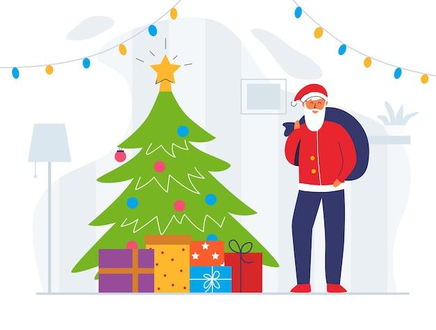 Santa claus con bolsa de regalo y árbol de navidad. lindo personaje de vacaciones de invierno plana. tarjeta de felicitación de feliz año nuevo con santa y regalos.