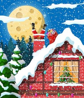 Santa claus con bolsa con regalos en la chimenea de la casa