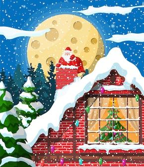 Santa claus con bolsa con regalos pegados en la chimenea de la casa