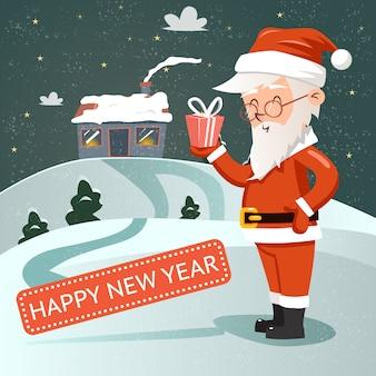 Santa claus con caja de regalo en la mano en estilo retro con el telón de fondo de la casa cubierta de nieve