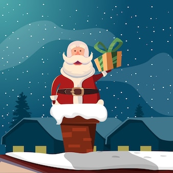 Santa claus, en, chimenea, divertido, ilustración