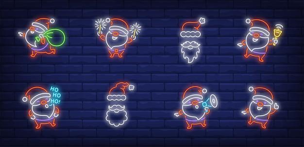 Santa claus divirtiéndose con símbolos en estilo neón
