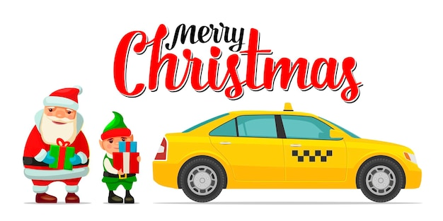 Santa claus, duende y taxi con sombra y cajas. para cartel de año nuevo y feliz navidad, tarjeta de felicitación. ilustración de color de vector plano