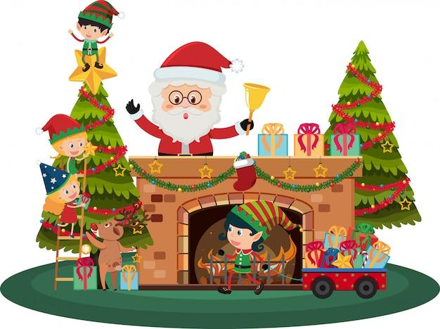 Santa claus y duendes de navidad junto a la chimenea