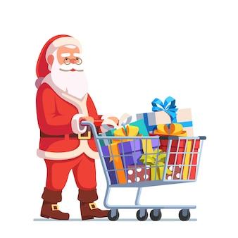 Santa claus empujando carrito de compras lleno de regalos
