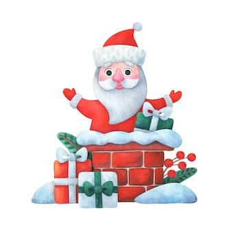 Santa claus entrega regalos a través de la chimenea. ilustración navideña en estilo de dibujos animados