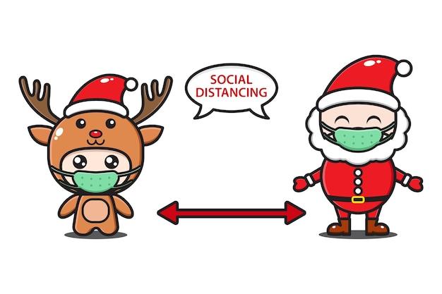 Santa claus y lindo ciervo con máscara ilustración de distanciamiento social