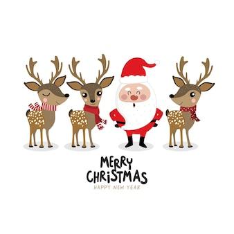 Santa claus y lindo ciervo en traje de invierno.