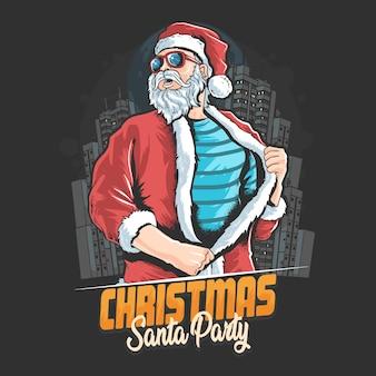 Santa claus lista ir a la fiesta de navidad