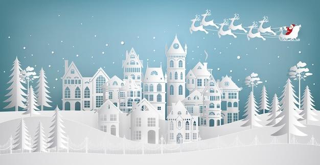 Santa claus llega a la ciudad en un trineo con ciervos. feliz navidad y próspero año nuevo. ilustración de arte de papel.