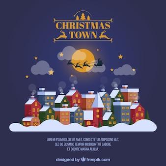 Santa claus llegando a la ciudad