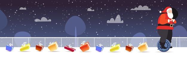 Santa claus montando auto equilibrio mono rueda transporte eléctrico personal feliz navidad vacaciones de invierno celebración concepto horizontal ilustración vectorial