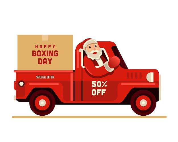 Santa claus montando camioneta feliz día de boxeo