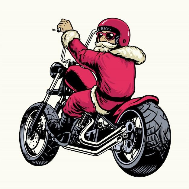 Santa claus montando moto chopper