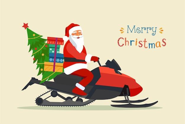 Santa claus montando motos de nieve aislado. feliz navidad tipografía estilizada.