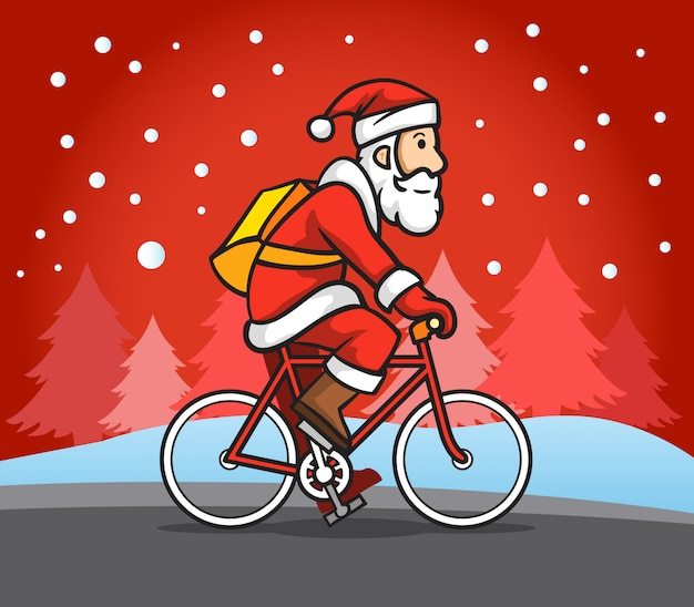 Santa claus montar bicicleta de carretera en la nieve lluvia.