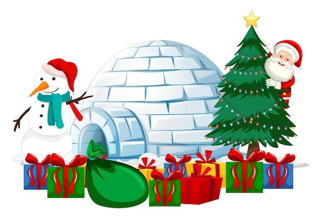 Santa claus con muchos regalos y muñeco de nieve y elemento navideño sobre fondo blanco.