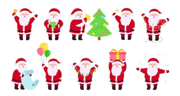 Santa claus navidad conjunto plano año nuevo