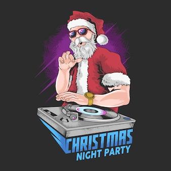 Santa claus navidad música dj noche fiesta vector artículo especial