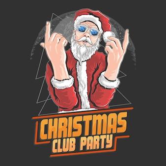 Santa claus navidad noche club danza dj fiesta vector elemento