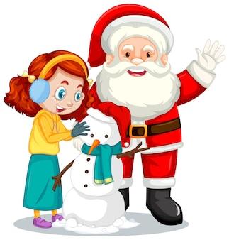 Santa claus con niña creando un personaje de dibujos animados de muñeco de nieve