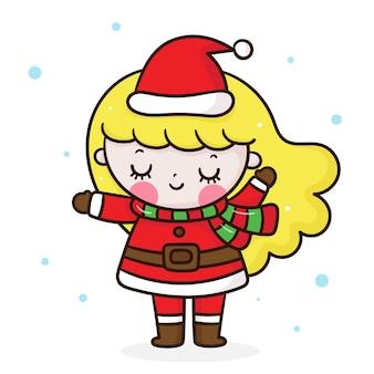 Santa claus niña feliz navidad estilo kawaii
