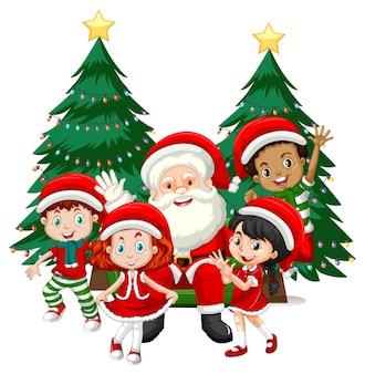 Santa claus con niños usan personaje de dibujos animados de disfraces de navidad sobre fondo blanco