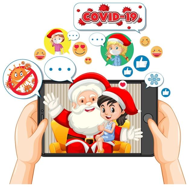 Santa claus en la pantalla de la tableta con el icono de redes sociales