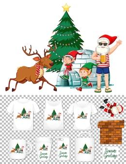 Santa claus en personaje de dibujos animados de traje de verano con un conjunto de diferentes productos de ropa y accesorios sobre fondo transparente