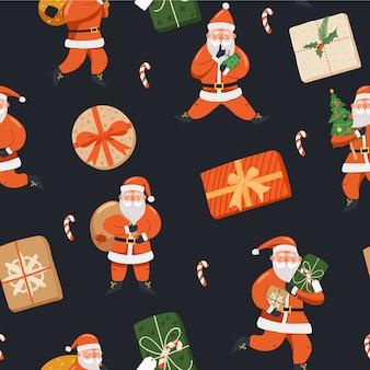Santa claus con plantilla de patrón dibujado a mano regalos