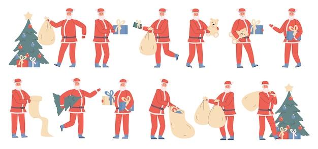 Santa claus con regalos de navidad conjunto plano