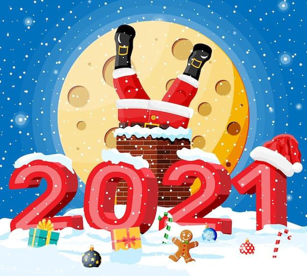 Santa claus con regalos pegados en la chimenea de la casa, cajas de regalo en la nieve.