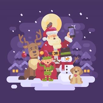 Santa claus con reno