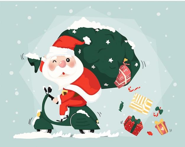Santa claus ride scooter entrega presente cajas navidad lindo vector plano