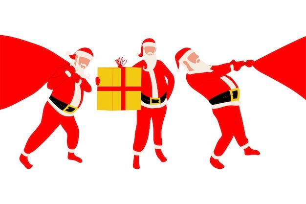 Santa claus con silueta de caja de regalo y saco en un fondo blanco.