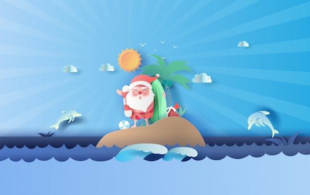 Santa claus sonrisa vistiendo traje de playa viaje de isla