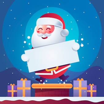 Santa claus sosteniendo pancarta de navidad en blanco