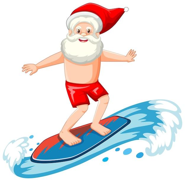 Santa claus surfeando en tema de verano en blanco