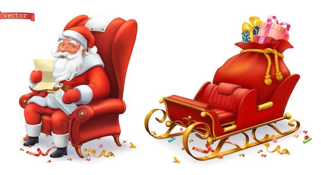 Santa claus y trineo con ilustración de regalos