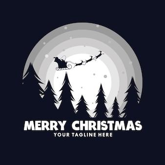 Santa claus en trineo con renos en luna
