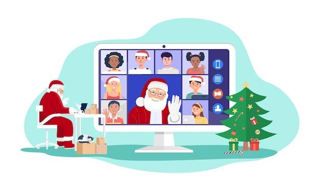 Santa claus con videoconferencia en computadora con niños en casa.