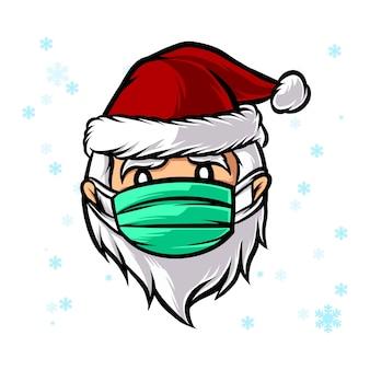 Santa con coronavirus máscara