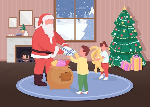 Santa da regalos a los niños de color plano. niños felices recibiendo juguetes. papá noel personajes de dibujos animados en 2d con decoraciones navideñas tradicionales en el fondo