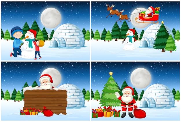 Santa dando regalos conjunto