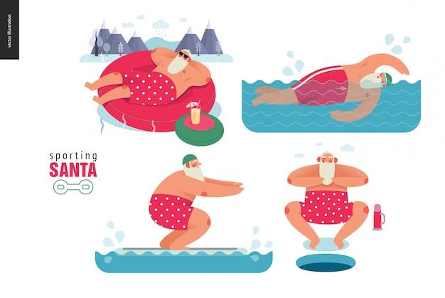 Santa deportivo haciendo actividad acuática de invierno
